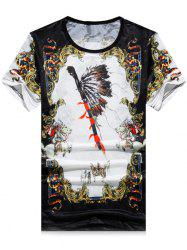 Short Sleeve Mini Mesh Animal Feather Print T-shirt -