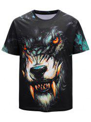 3D Devil Werewolf Print Short Sleeve Summer T-shirt -