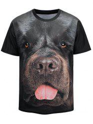 3D Cute Dog Face Print Crew Neck T-shirt -