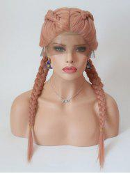 Center Parting Long Braids Cosplay Lolita Lace Front Synthetic Wig -