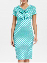 Bowknot Embellished Polka Dot Bodycon Dress -