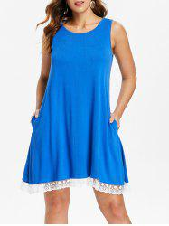 Lace Hemline Sleeveless Shift Dress -