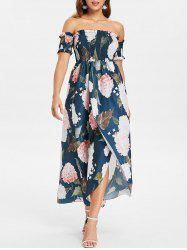 Off The Shoulder Floral Print Maxi Dress -
