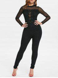 Lace Up Mesh Long Sleeve Jumpsuit -