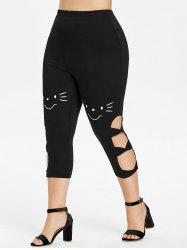 Plus Size Cartoon Face Ladder Cut Capri Leggings -