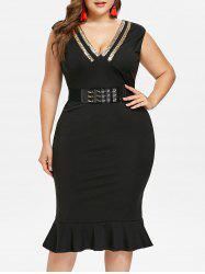 Plus Size Sleeveless Knee Length Mermaid Dress -