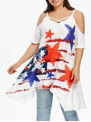 Plus Size Star Striped Open Shoulder Tunic T-shirt -