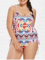Plus Size Ethnic Lace Up Swimsuit -