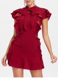 Bow Neck Flounce Mini Dress -
