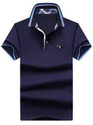 Embroidery Horse Stripe Trim Polo T-shirt -