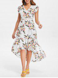 Floral Print Back Cut Out High Low Dress -