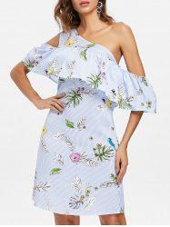 Open Shoulder Stripe Floral Trapeze Dress -