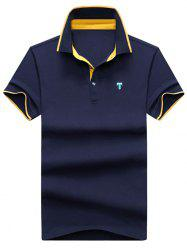 Color Block Embroidery Letter Polo T-shirt -