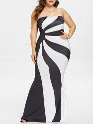 Plus Size Two Tone Strapless Maxi Dress