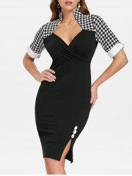 Button Embellished Houndstooth Print Bodycon Dress -