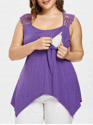 Plus Size Lace Panel Nursing Tank Top -