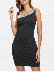 Skew Neck Sequined Dress -