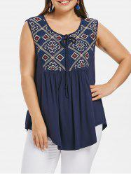 Plus Size Ethnic Embroidered Tank Top -