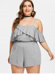 Plus Size Flounce Open Shoulder Romper -