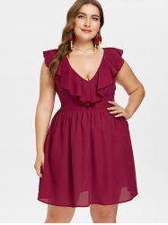 Plus Size Ruffled A Line Dress -