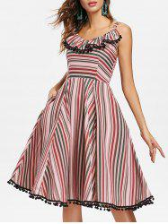 Striped Ruffle Pompom Smock Back Vintage Dress -