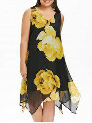 V Neck Plus Size Floral Print Asymmetrical Dress -