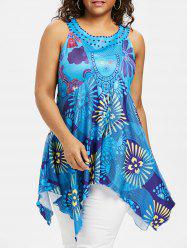 Plus Size Floral Handkerchief Tunic Tank Top -