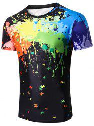 Colorized Paint Print Casual T-shirt -