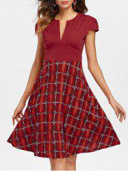 V Neck Fit and Flare Dress -