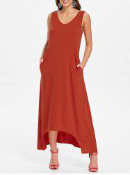 Sleeveless Front Pockets Maxi Dress -