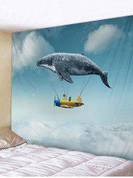 Whale Airship Pattern Tapestry Wall Decoration -