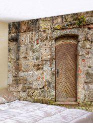 Wooden Door Stone Wall Pattern Tapestry Hanging Decor -