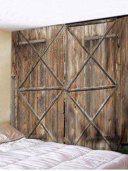 Wooden Door Pattern Tapestry Wall Decoration -