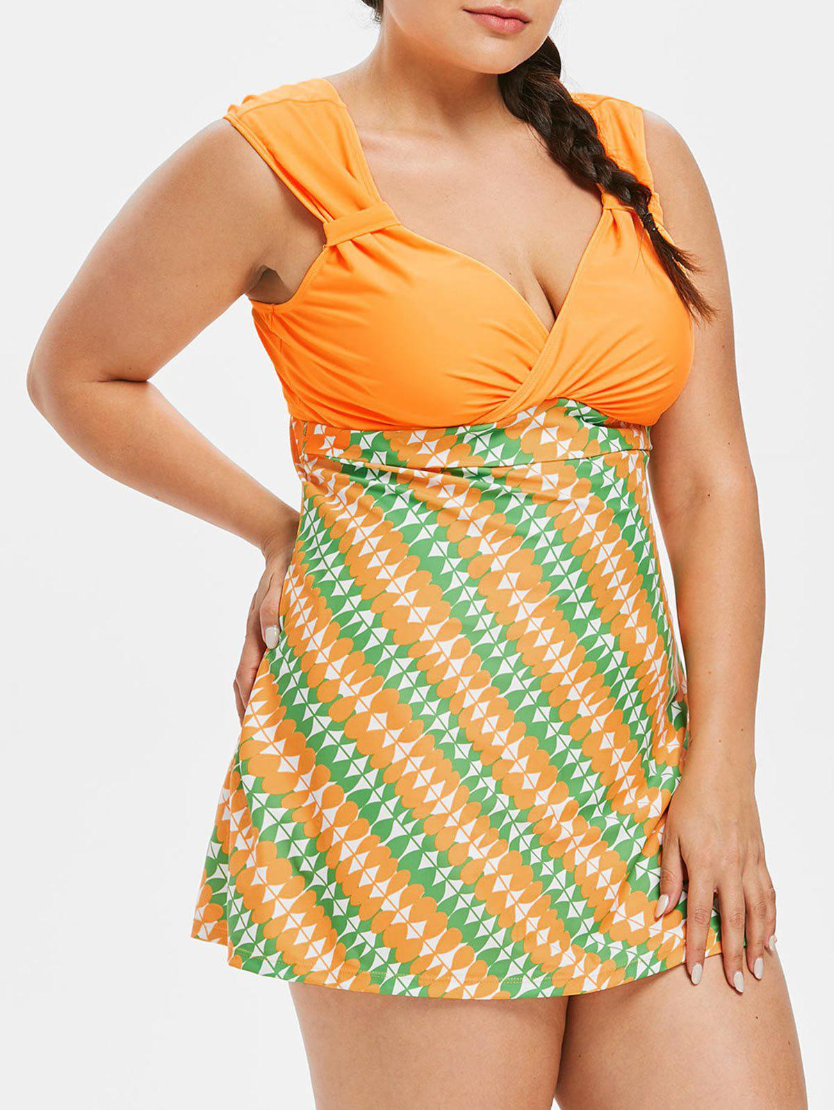 Fashion Plus Size Geometric Plunging Tankini Set