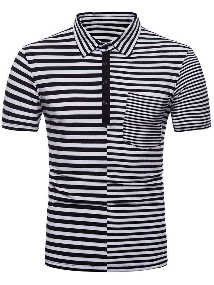 Shop Striped Splicing Polo Shirt with Pocket