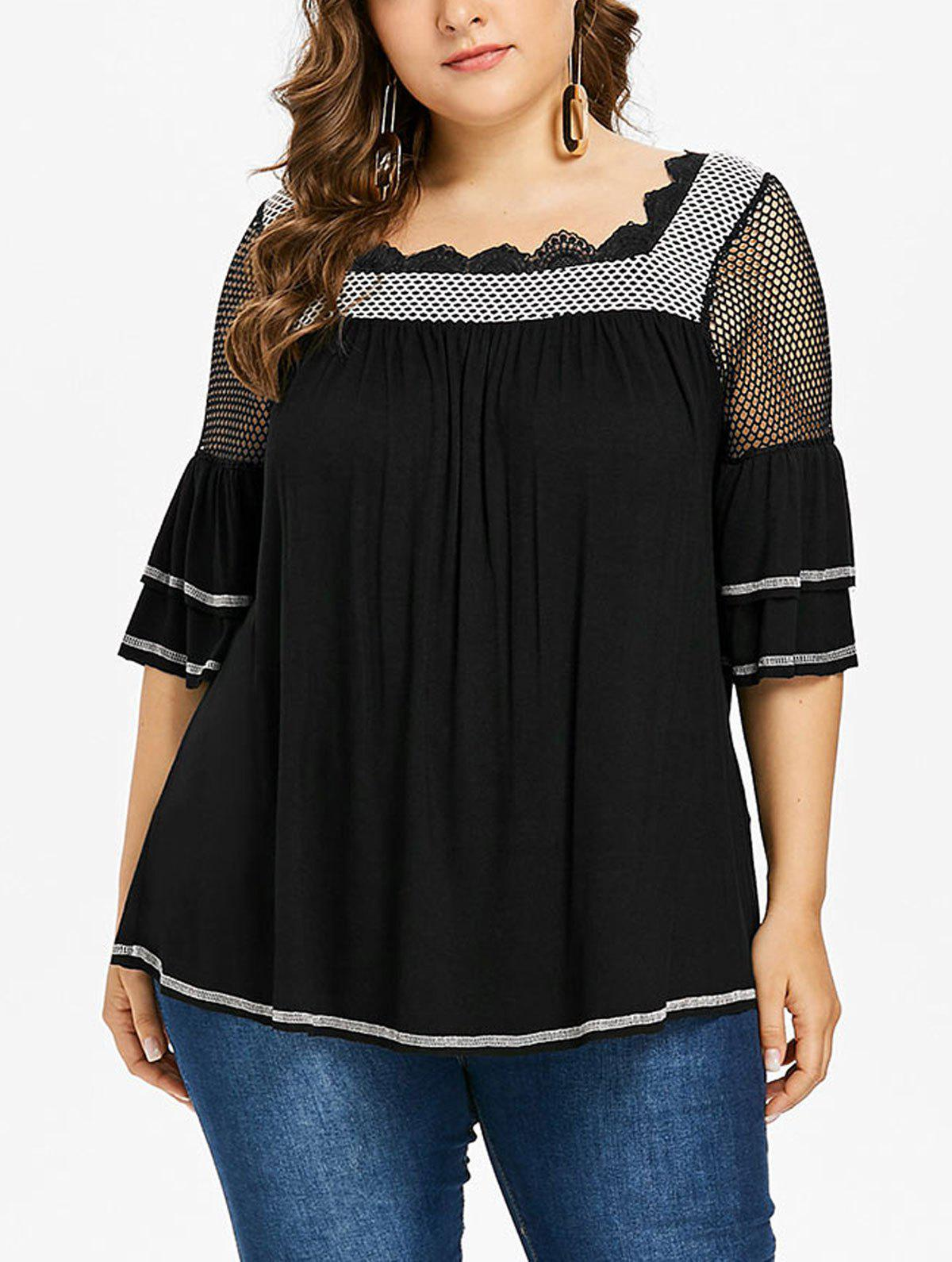 Latest Plus Size Square Neck Tiered Sleeve T-shirt