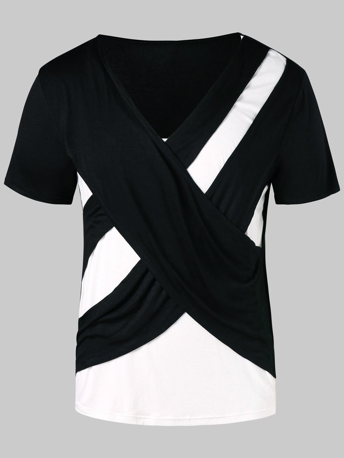 Outfits Short Sleeve Contrast Color Cross T-shirt