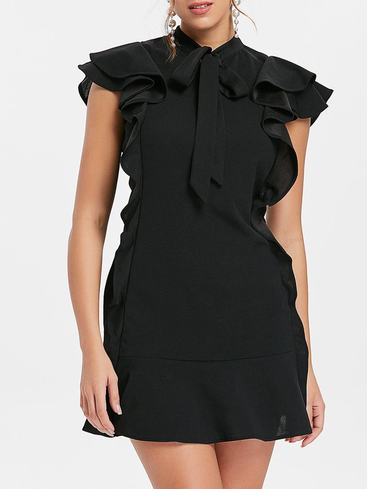 Latest Bow Neck Flounce Mini Dress