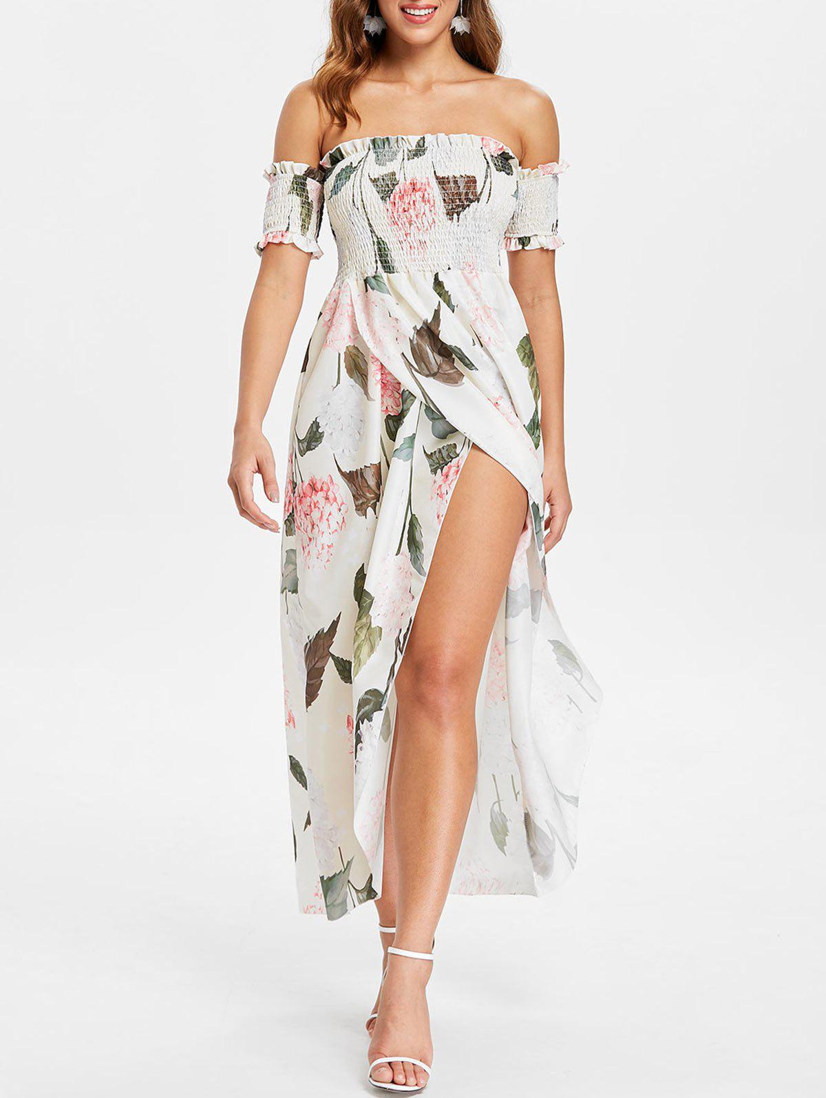 Latest Off The Shoulder Floral Print Maxi Dress