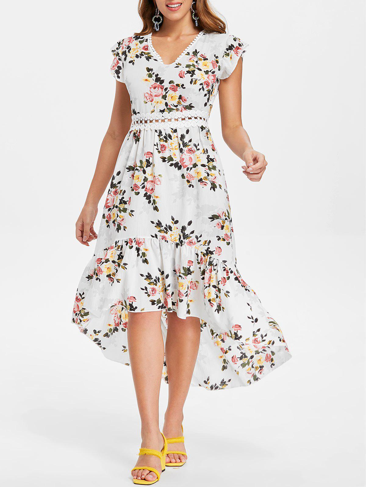 Shop Floral Print Back Cut Out High Low Dress