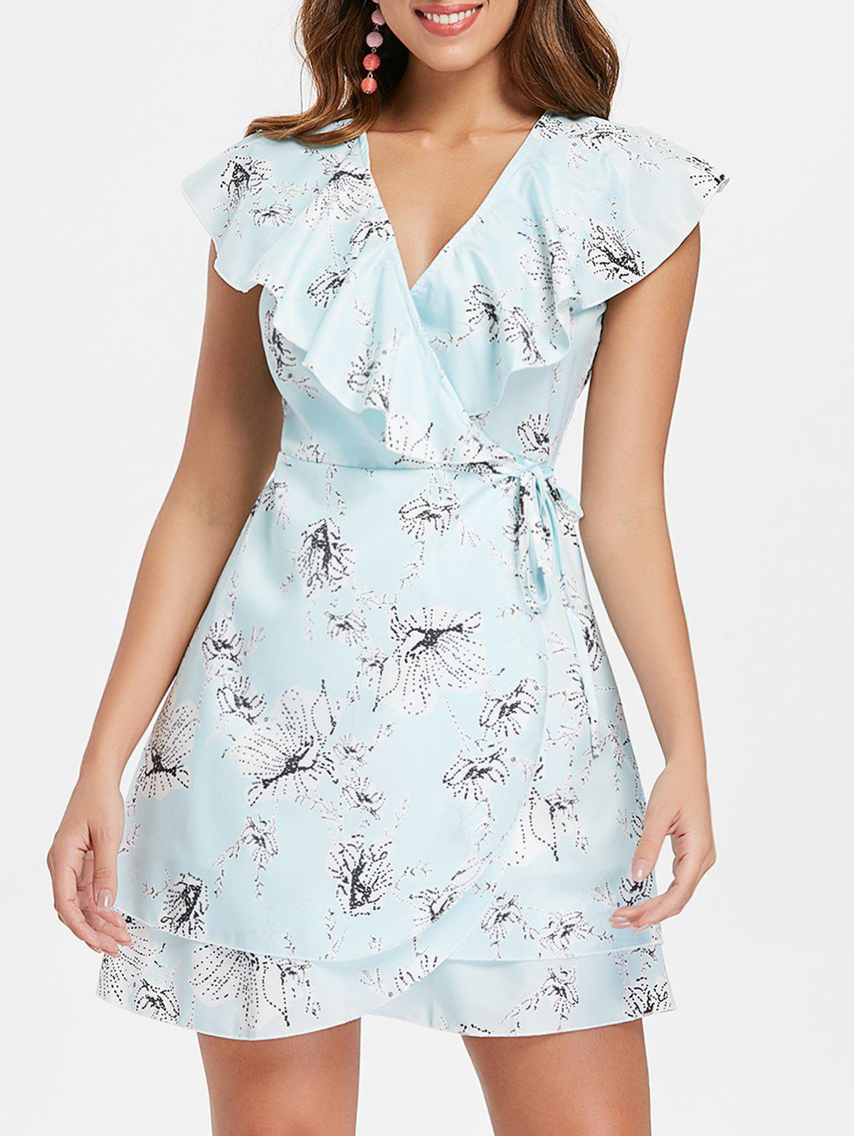 New Floral Print Ruffle Insert Wrap Dress