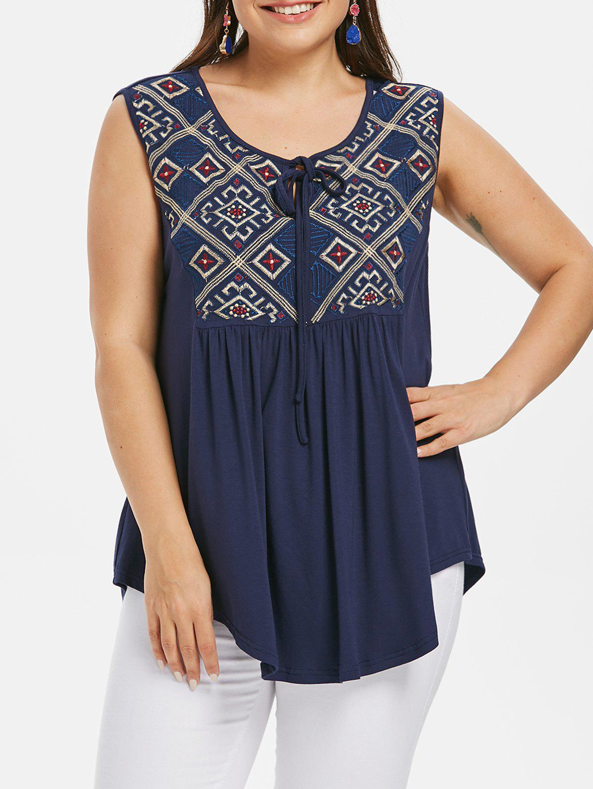 New Plus Size Ethnic Embroidered Tank Top