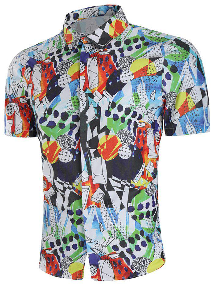 Fashion Geometric Paint Short Sleeve Shirt