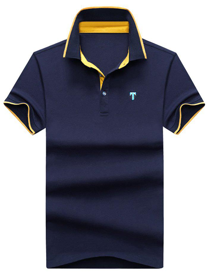 Chic Color Block Embroidery Letter Polo T-shirt