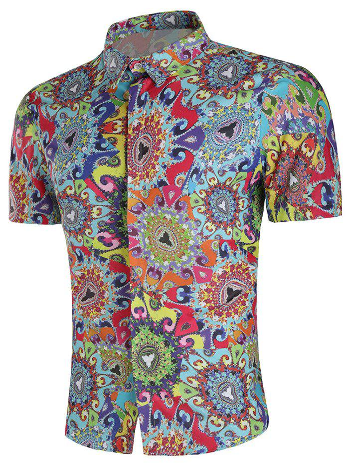 Outfit Slim Fit Colorful Filigree Paint Shirt