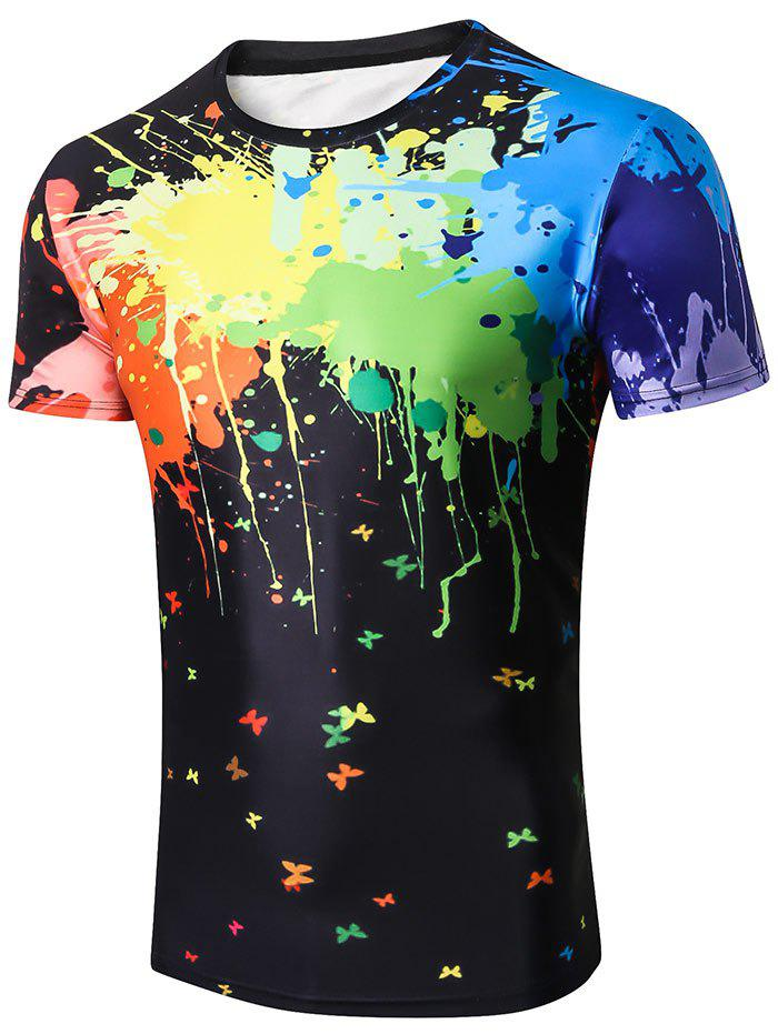 Online Colorized Paint Print Casual T-shirt