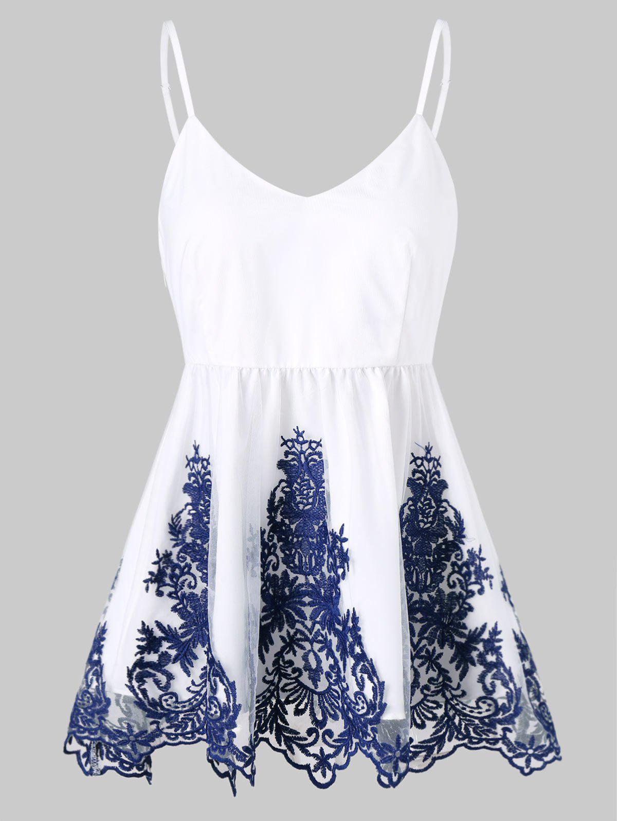 Outfits Embroidered Ruffle Tank Top