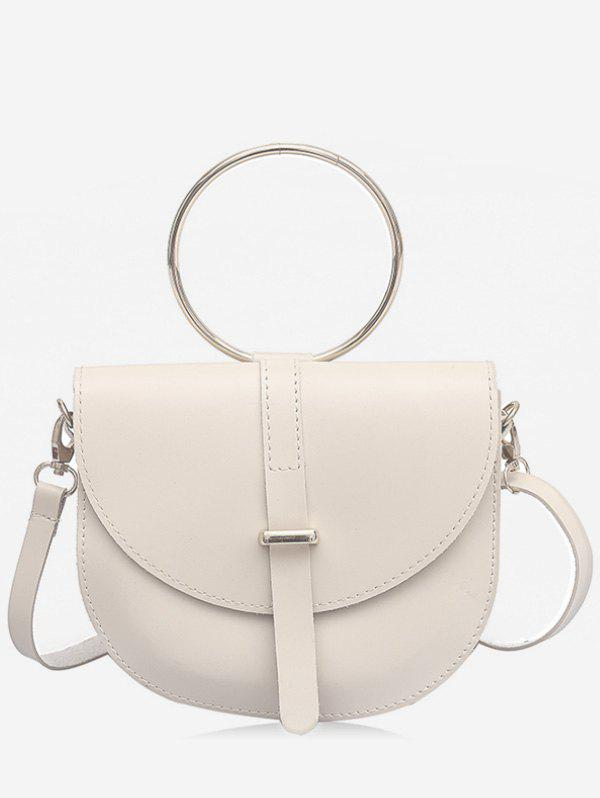 New Flapped Faux Leather Ring Buckled Crossbody Bag