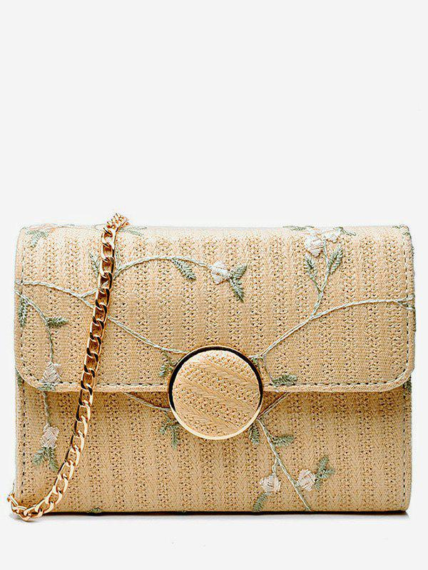 Online Casual Vacation Flower Straw Crossbody Bag