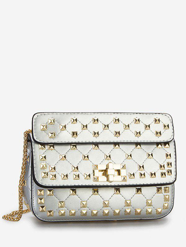 Affordable Flapped Quilted All Over Rivets Chic Sling Bag
